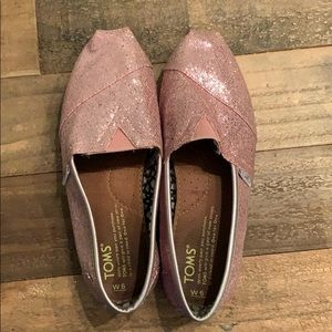 Toms pink glitter shoes women's size 6